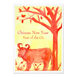 Chinese New Year of the Ox Red Party 13 Cm X 18 Cm Invitation Card