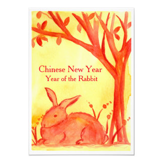 Chinese New Year of the Rabbit Red Party 13 Cm X 18 Cm Invitation Card