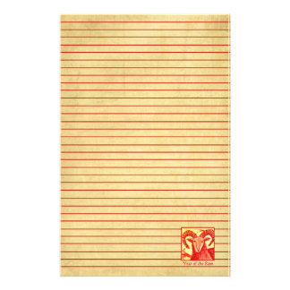 Chinese New Year of the Ram Animal Red Lined Personalised Stationery