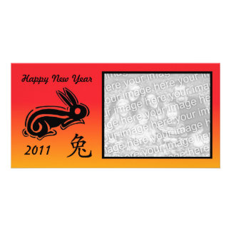 Chinese new year photocard rabbit photo card template