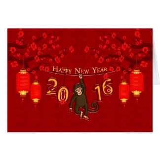 Chinese New Year, Year Of The Monkey With Monkey O Greeting Card