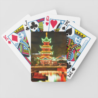 Chinese pagoda at night bicycle playing cards