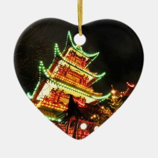 Chinese pagoda at night christmas ornament