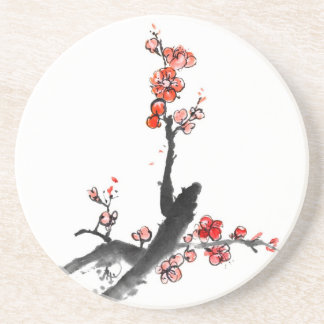 Chinese painting of flowers, plum blossom coaster