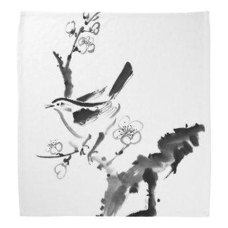 Chinese painting , plum blossom and bird bandana