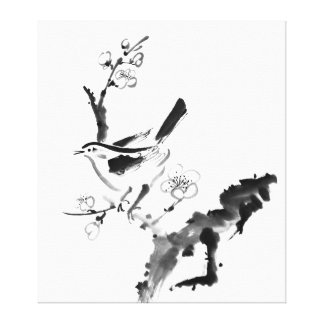 Chinese painting , plum blossom and bird canvas print
