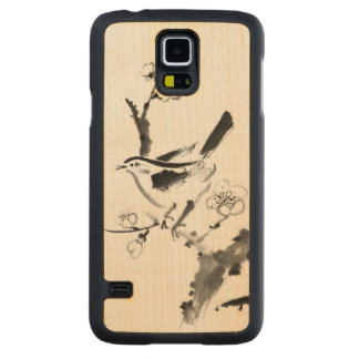 Chinese painting , plum blossom and bird carved maple galaxy s5 case