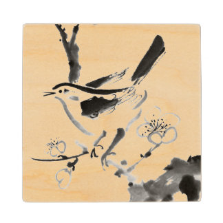 Chinese painting , plum blossom and bird maple wood coaster