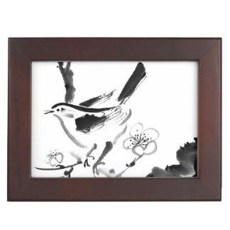 Chinese painting , plum blossom and bird memory box