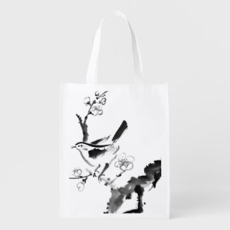 Chinese painting , plum blossom and bird reusable grocery bag