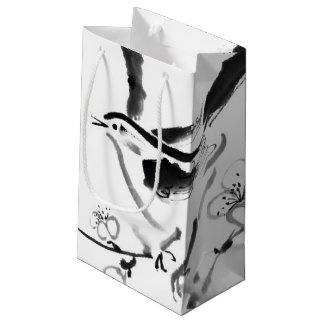 Chinese painting , plum blossom and bird small gift bag