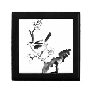 Chinese painting , plum blossom and bird small square gift box