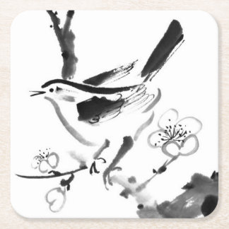 Chinese painting , plum blossom and bird square paper coaster
