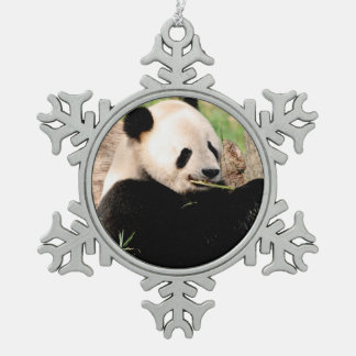 Chinese Panda Snowflake Pewter Christmas Ornament
