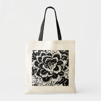 Chinese Paper-Cut Peony on Black - Budget Tote Bags