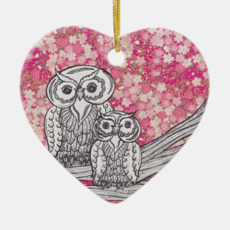 Chinese Paper Owls 4 Ceramic Heart Decoration