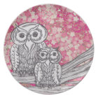 Chinese Paper Owls 4 Plate