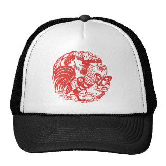 Chinese Papercut Rooster Year 2017 Cap