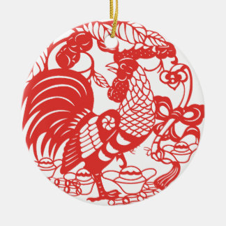 Chinese Papercut Rooster Year 2017 Christmas Ornament