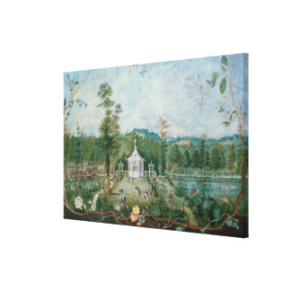 Chinese Pavilion in an English Garden, 18th centur Canvas Print