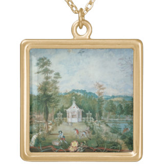 Chinese Pavilion in an English Garden, 18th centur Gold Plated Necklace