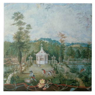 Chinese Pavilion in an English Garden, 18th centur Large Square Tile