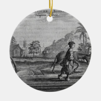 Chinese Peasants, a General Description from an ac Round Ceramic Decoration