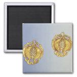 Chinese pendants, 17 carat gold plated fridge magnets