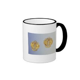 Chinese pendants, 17 carat gold plated ringer mug