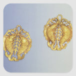 Chinese pendants, 17 carat gold plated square sticker