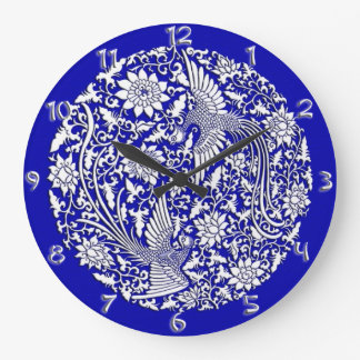 Chinese phoenix ancient Ming with numbers Large Clock