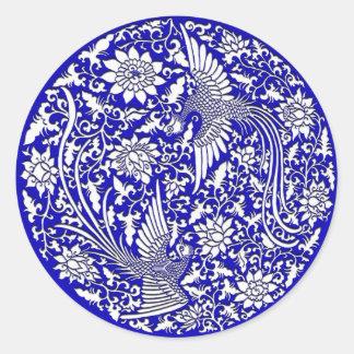 Chinese phoenix classic round sticker