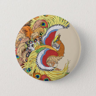 chinese phoenix feng huang 6 cm round badge