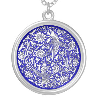 Chinese phoenix silver plated necklace