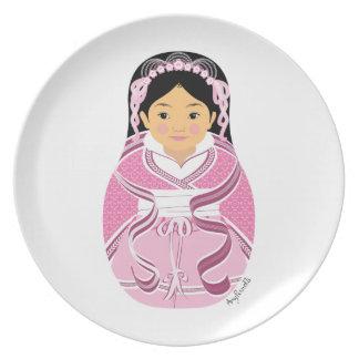 Chinese Pink HanFu Girl Matryoshka Plate