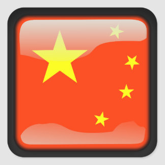 Chinese polished flag square sticker