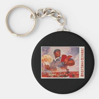 Chinese Propaganda Basic Round Button Key Ring