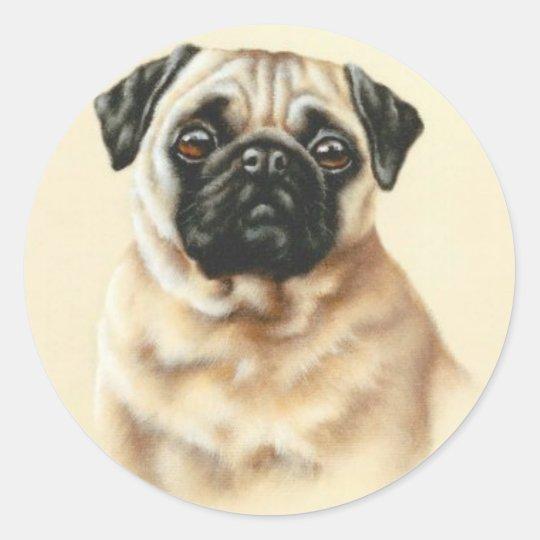 Chinese Pug Classic Round Sticker