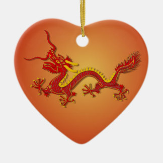 Chinese Red And Gold Dragon Heart Ornament
