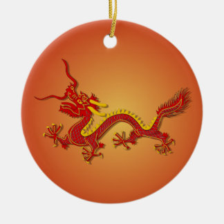Chinese Red And Gold Dragon Ornament