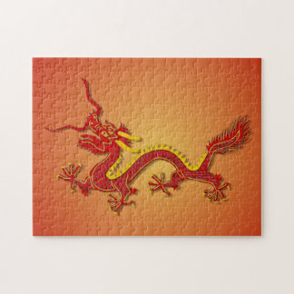Chinese Red And Gold Dragon Puzzle