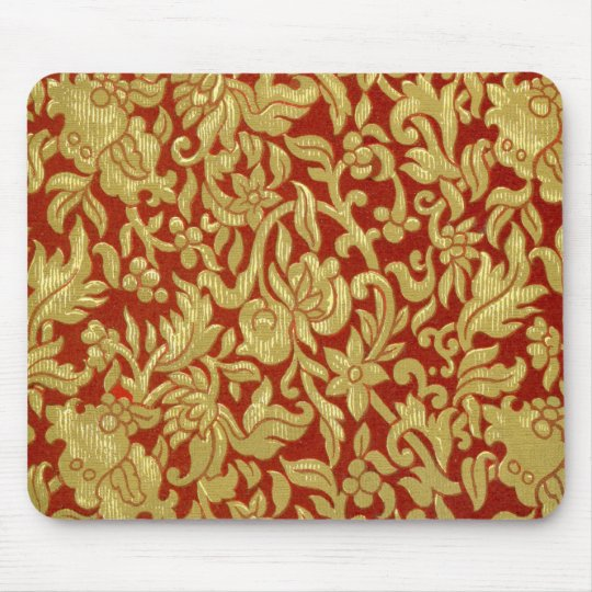 Chinese Red and Gold Pattern Mouse Mat