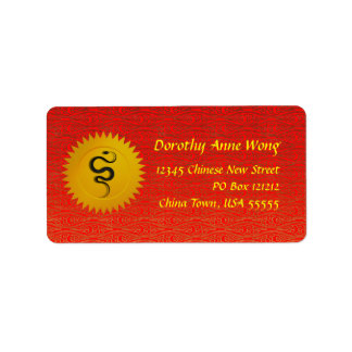 Chinese Red and Gold Snake Zodiac Label