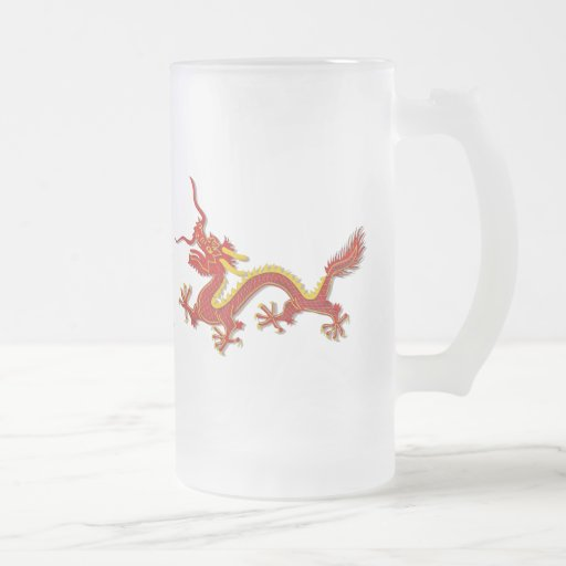 Chinese Red And Gold Year Of The Dragon Glass Coffee Mugs