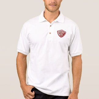Chinese Red Dragon Head Shield Polo Shirt