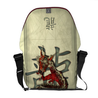 Chinese Red Dragon Messenger Bag
