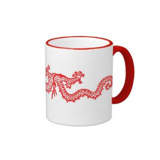 Chinese Red Dragon Ringer Mug