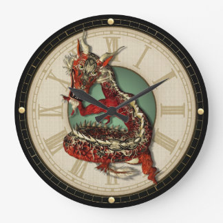 Chinese Red Dragon Wall Clock