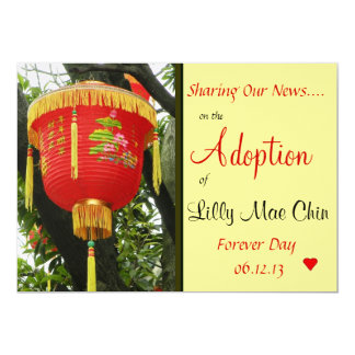 "Chinese Red Lantern Adoption Announcement 5"" X 7"" Invitation Card"