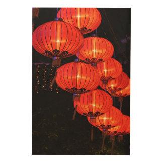 Chinese Red Lanterns Wood Wall Art